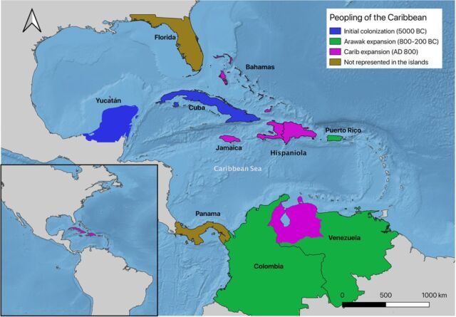 A map showing proposed three migration routes for the peopling of the Caribbean.