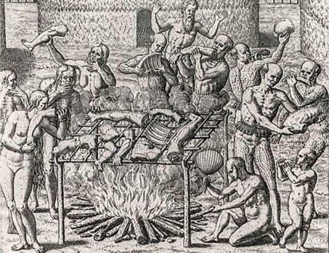Cannibalism in Brazil depicted by Theodor de Bly, 1596.