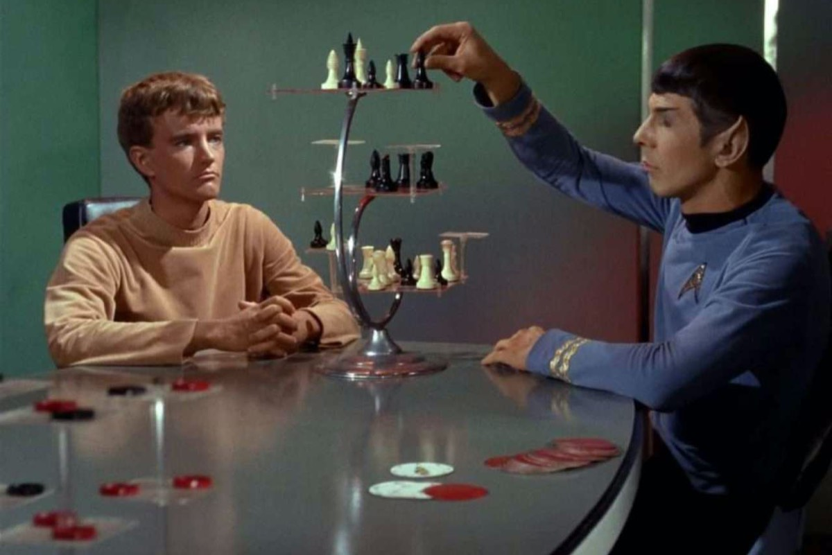"Spock playing 3D chess in ""Charlie X,"" an episode from <em>Star Trek: The Original Series</em>, which originally aired in 1966. ""><img alt="