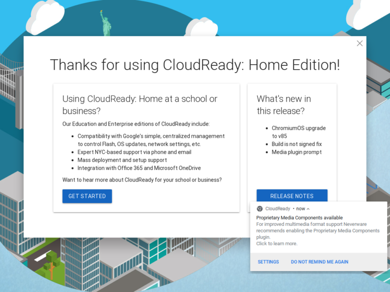 Screenshot of CloudReady interface.