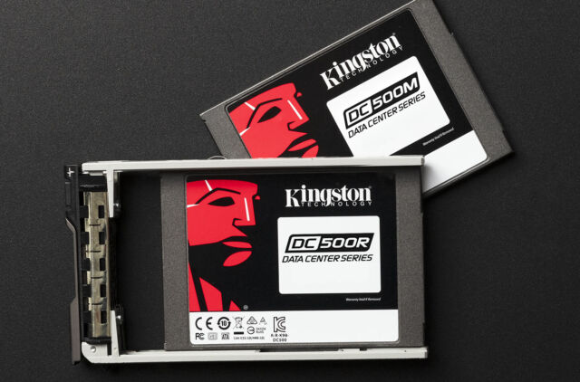 "Kingston's DC500 series of drives comes in two variants—a less-expensive 500R ""read optimized"" version, and the heavier duty 500M ""mixed workload"" version we're testing today."