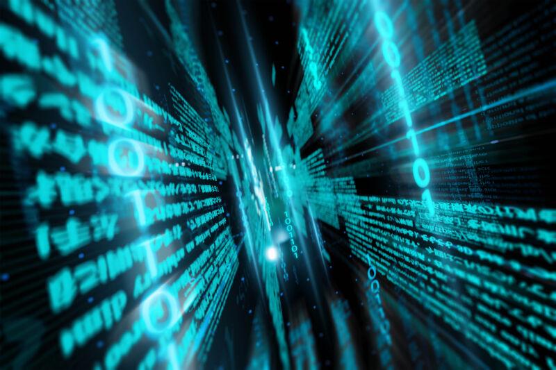 Cierre de datos digitales y código binario en la red.