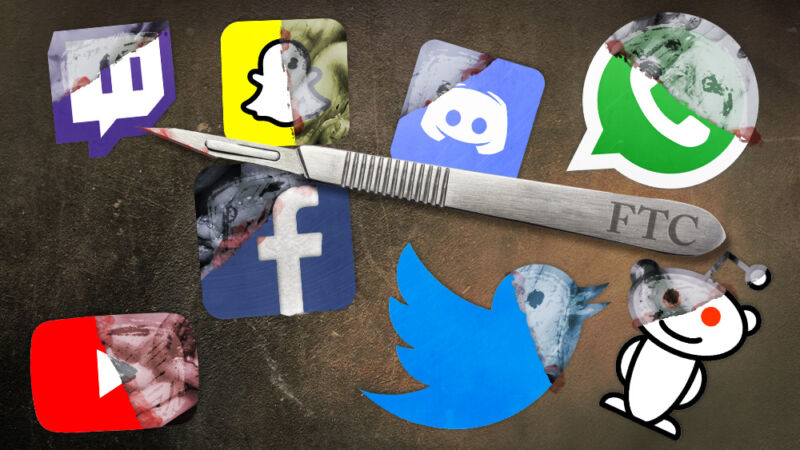 A scalpel labeled FTC is surrounded by the logos of social media giants.