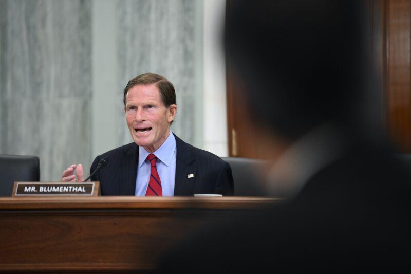 Senator Richard Blumenthal (D-Conn.) speaking at a Senate hearing.