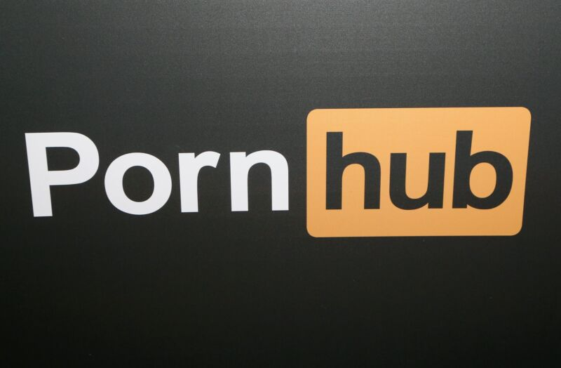 A Pornhub logo at the company's booth during an industry conference.