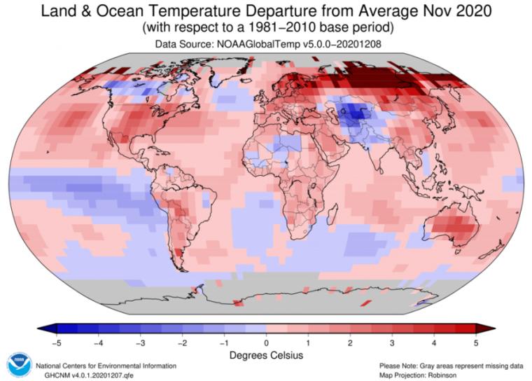 گرمترین ماه نوامبر در جهان بود.
