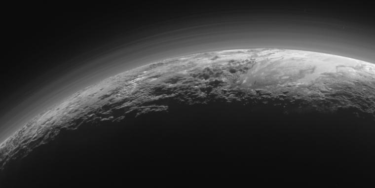 Pluto's atmosphere is fairly hazy.