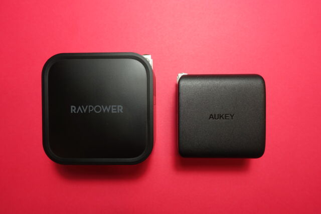RavPower's RP-PC128 wall charger (left).