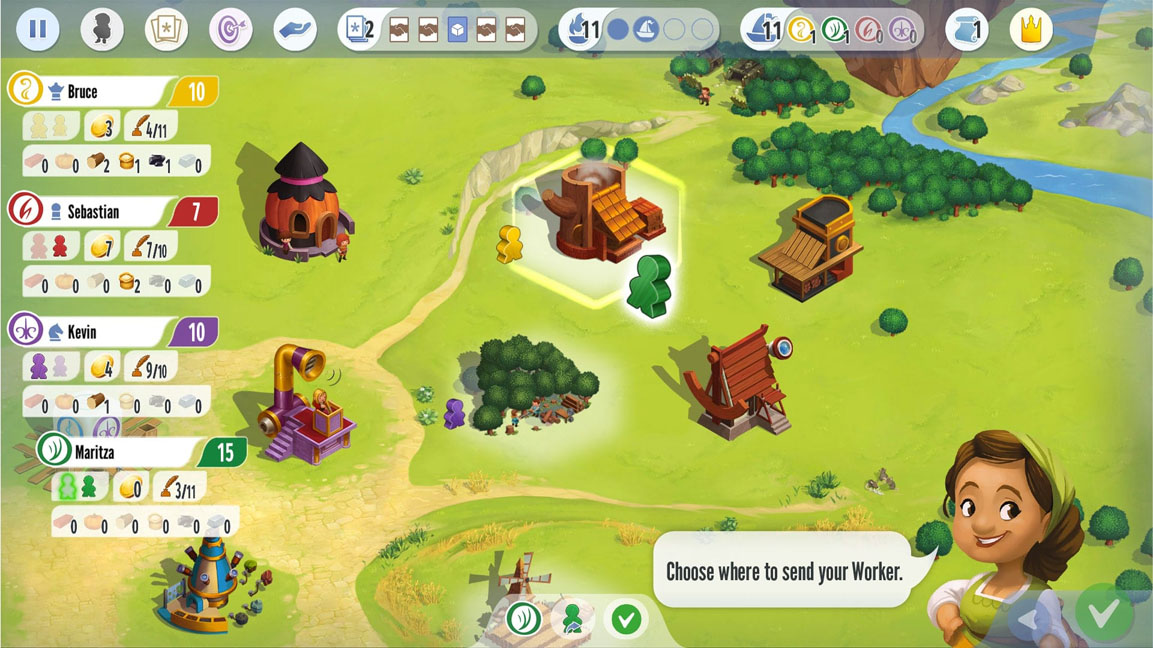 A worker placement legacy game that starts as simple as it looks here but grows more complex.