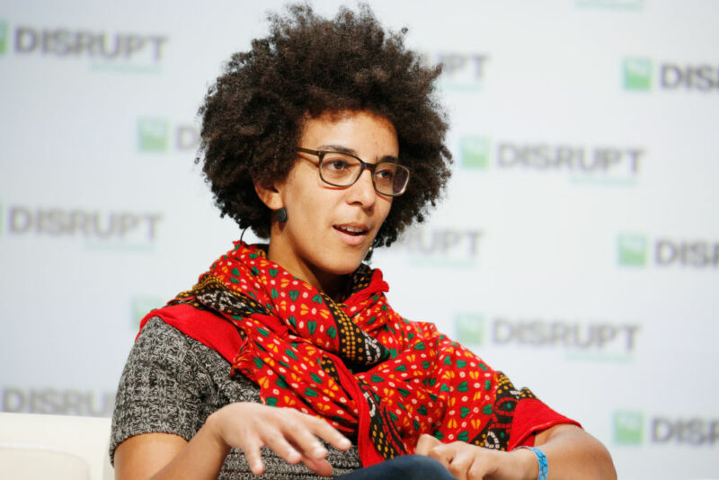 Former Google AI Research Scientist Timnit Gebru speaks onstage during Day 3 of TechCrunch Disrupt SF 2018 at Moscone Center on September 7, 2018 in San Francisco, California.