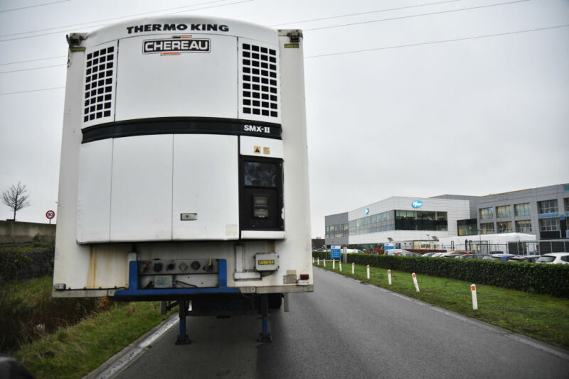 A climate controlled thermo haulage truck trailer outside the Pfizer Inc. facility in Puurs, Belgium, on Thursday, Dec. 3, 2020.