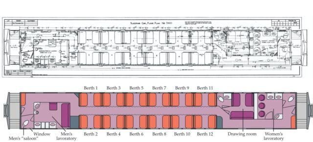 Technology Schematic drawing of the Pullman car where John Wheeler spent the night on 6 January 1953.