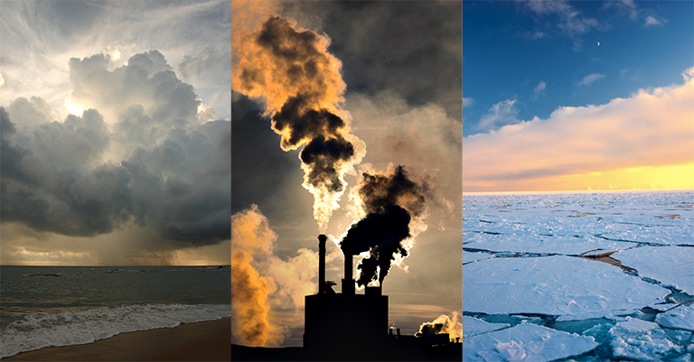 A three panel image featuring clouds, power plant exhaust, and ice.
