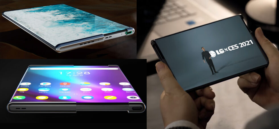 Rollable phones and concepts from Oppo (top left), TCL (bottom left), and LG (right). Is it just me, or are these all the same phone? No one filed a patent?