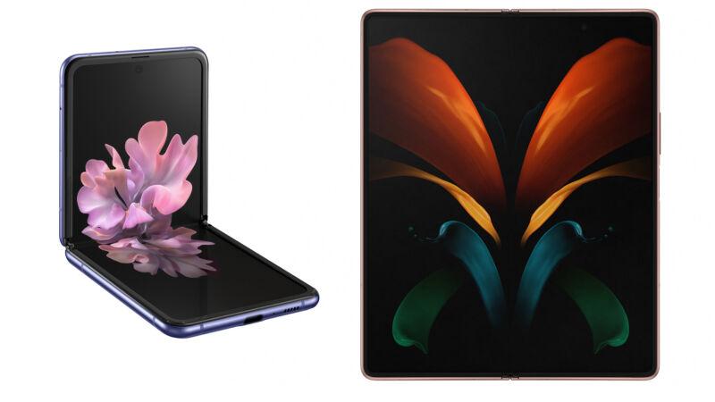 Technology Promotional image of foldable smartphone.