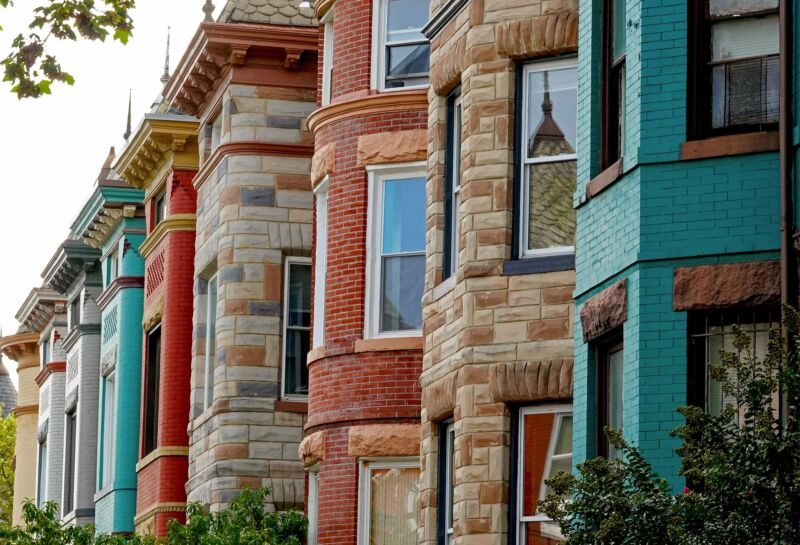 A row of DC brownstones.