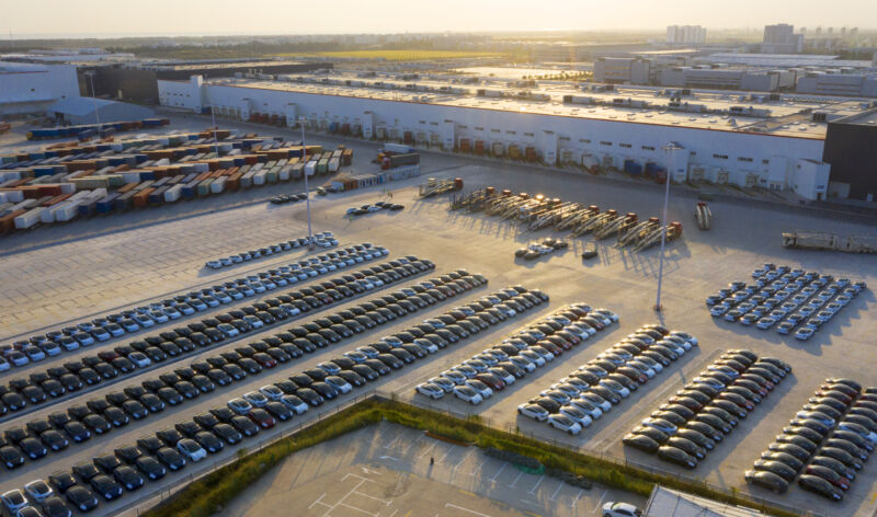 The parking lot of Tesla's Shanghai factory was full of new cars in October 2020.