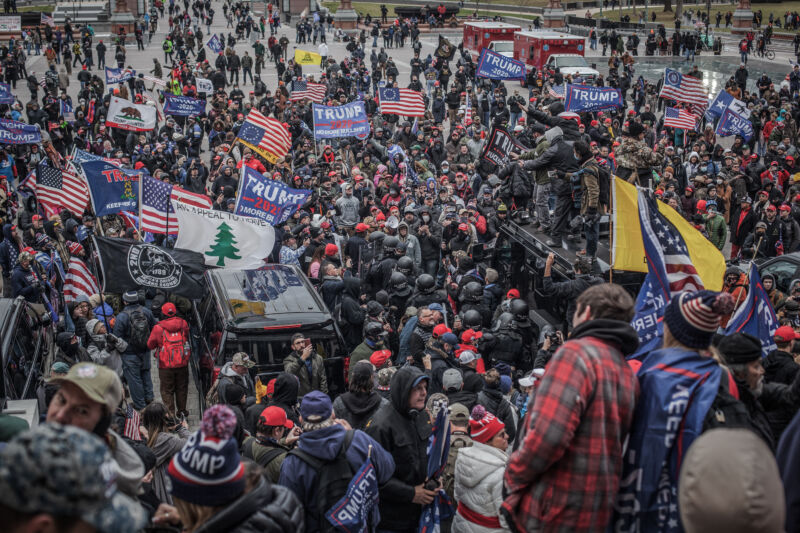 Trump supporters near the US Capitol on January 6, 2021 in Washington, DC. The rioters stormed the historic building, breaking windows and clashing with police. (Photo by Shay Horse/NurPhoto via Getty Images)