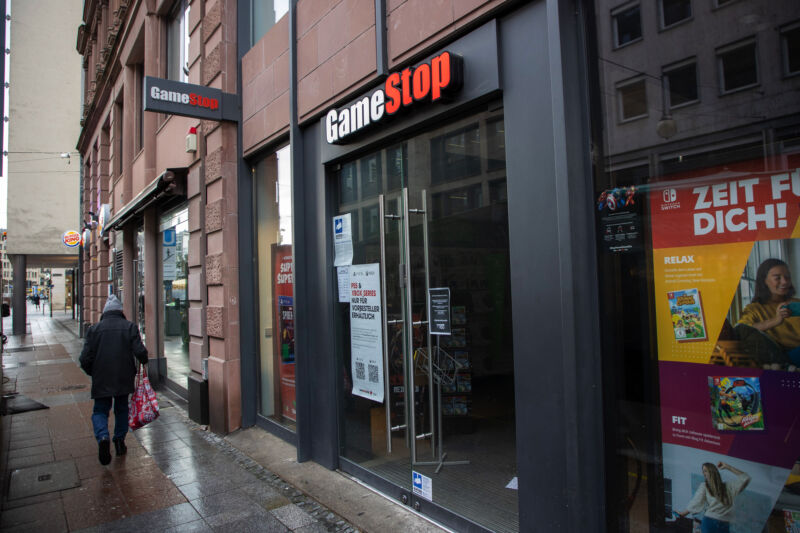 A closed GameStop store in Frankfurt, Germany, on Friday, Jan. 29, 2021.