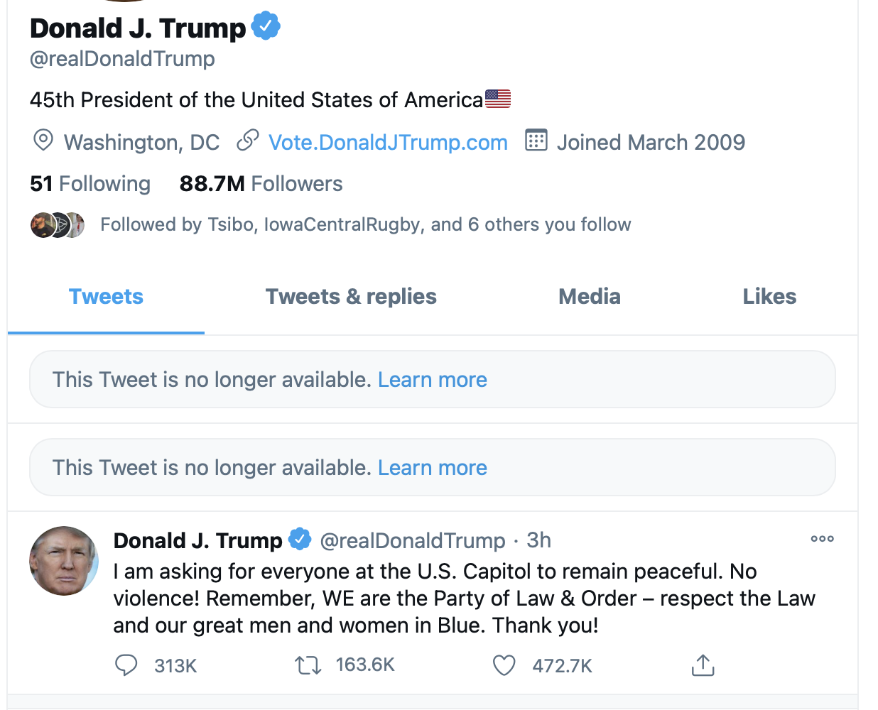 A screenshot of Trump's account with offending tweets removed.