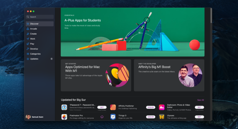 The Mac App Store—the only place you can easily get iOS and iPadOS apps for Mac.