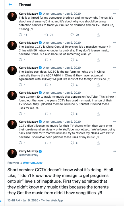 "A <a href=""https://twitter.com/kerrymuzzey/status/1215314324077436929"">long (35 posts) Twitter thread</a> from Muzzey when he was in the thick of learning about CCTV's approach to copyright."