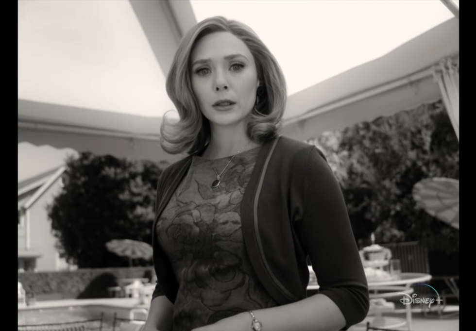 This moment from the second episode sees Wanda wondering how to deal with the curious sight of blood. As in, red blood in a black-and-white world.