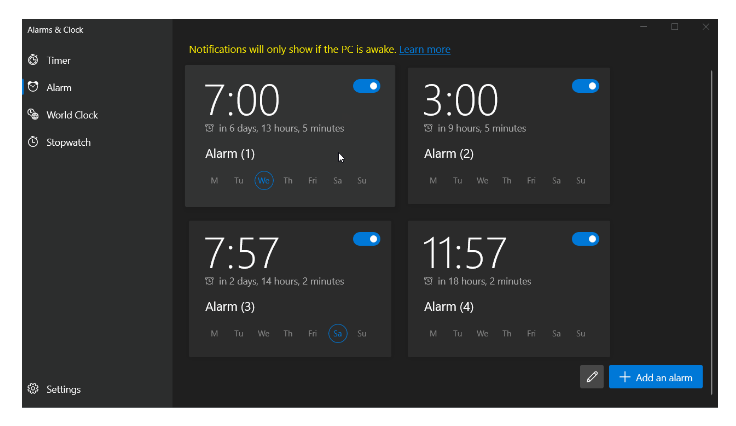 The latest Alarms and Clocks update introduces new UI elements, including subtly rounded corners.