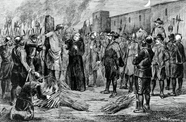 Engraving of the execution of Inca by A.B. Greene. The Spaniards burnt Atahualpa at the stake with a monk presiding holding crucifix to the right.