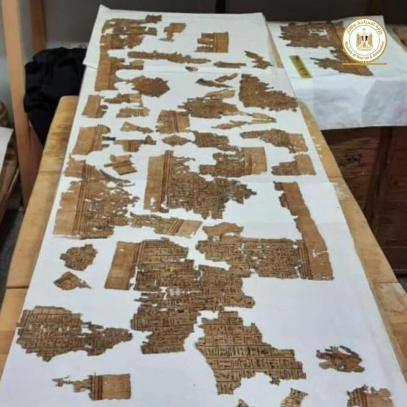 Color photo of fragments of papyrus laid out on a table