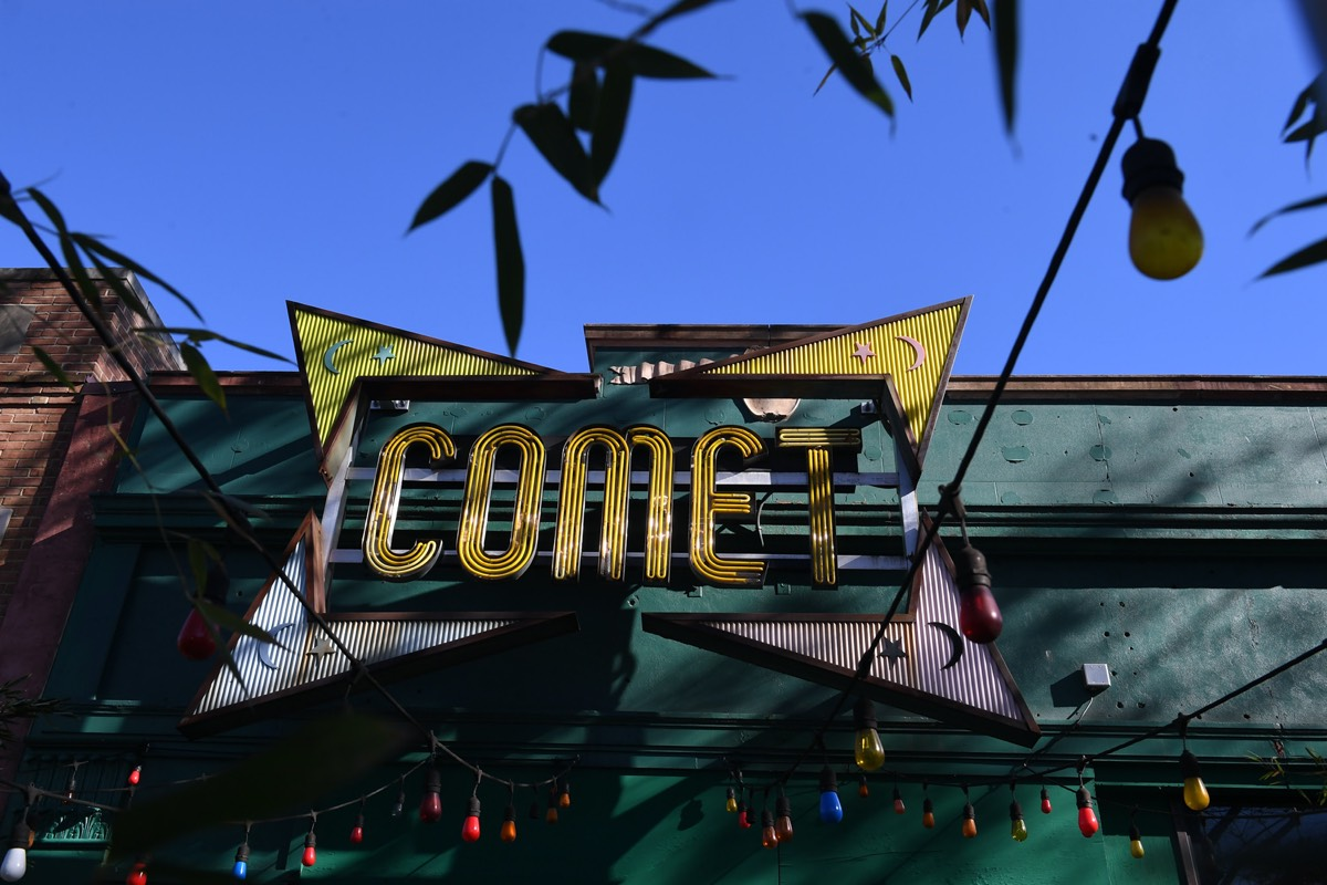 "The exterior of Comet Ping Pong pizzeria in Washington, DC, which was at the center of the ""Pizzagate"" conspiracy theory—a thoroughly debunked hoax."