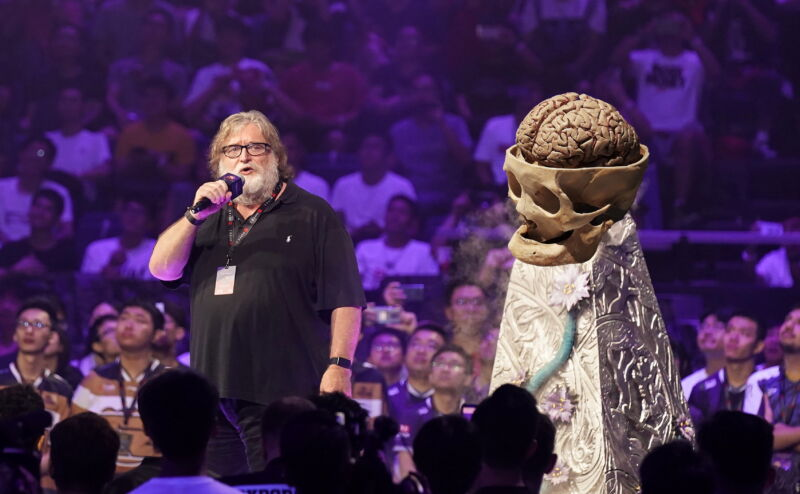 An artist's interpretation of how future <em>Dota 2</em> tournament trophies might look if Valve chief Gabe Newell pushes any further into brain-computer interface (BCI) research.