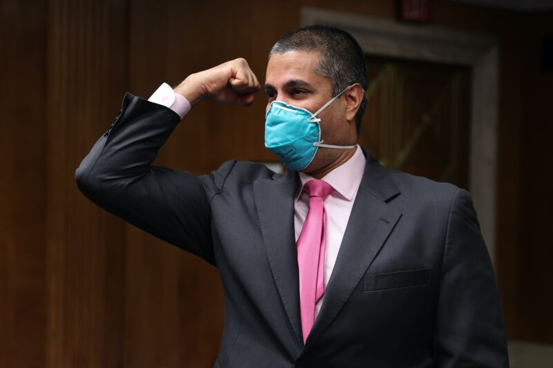 FCC Chairman Ajit Pai wearing a mask at a Senate hearing.