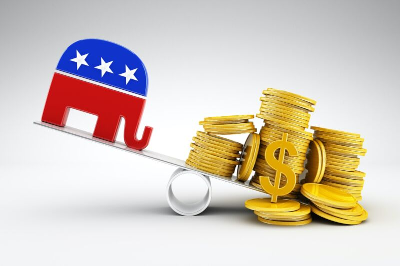 Illustration of the Republican Party's elephant logo on one side of a see-saw, with a pile of gold coins on the other side.