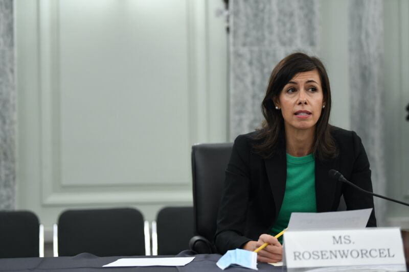 FCC Commissioner Jessica Rosenworcel speaking at a Senate committee hearing in June 2020.