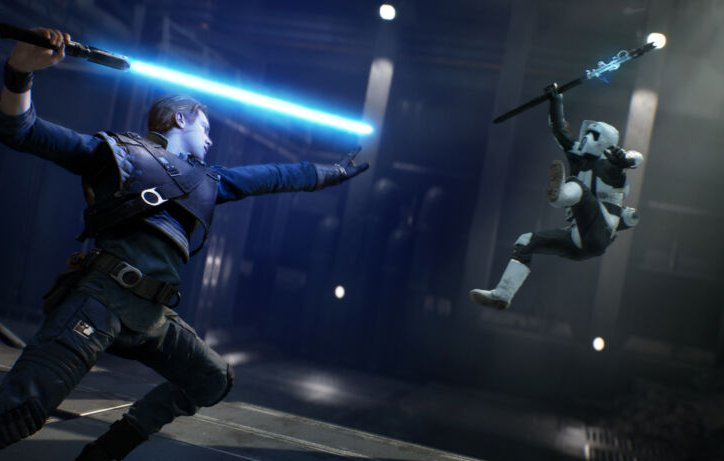 Artist's conception of Ubisoft shoving EA out of the way in announcing its upcoming <em>Star Wars</em> game project.