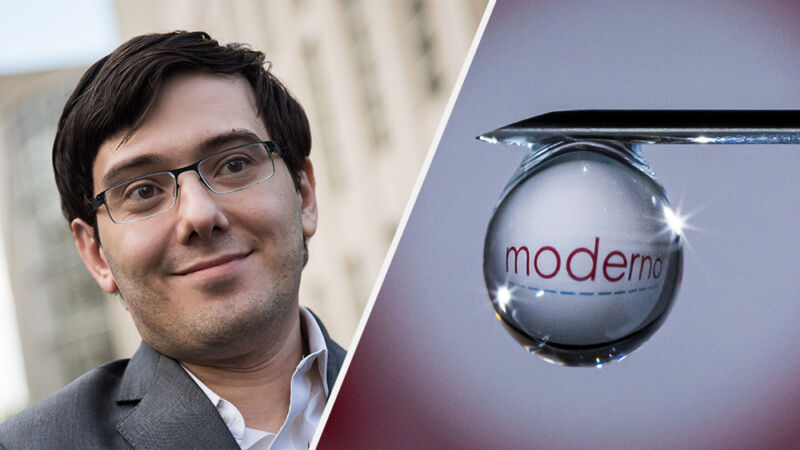 COVID-vaccine-maker Moderna (right), has been placed in the ranks of Martin Shkreli (left).