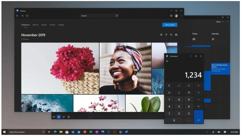 This screenshot of the Photos and Calculator apps comes from a video that Microsoft Product Manager Panos Panay dropped on Instagram to demonstrate new UI concepts in March 2020.