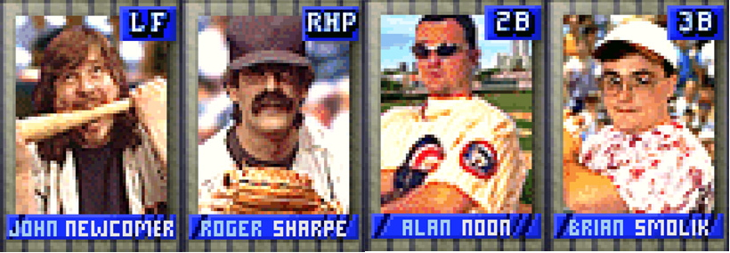 """Members of the <em>Power-Up Baseball</em> staff, as members of a hidden developer team within the game. (We've yet to hear about other hidden teams in the game, and we're pessimistic about finding the Wu-Tang Clan in here, given the game's 1996 launch. But, hey, we can dream.)""""><img alt="""
