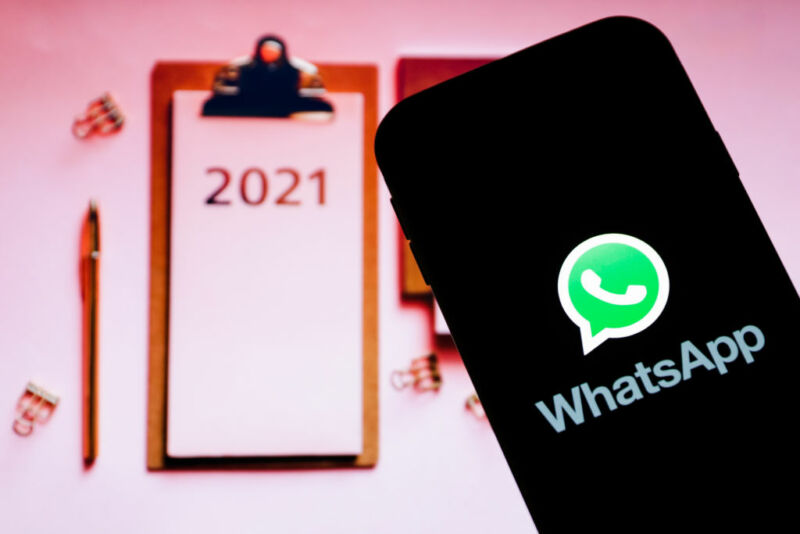 In this photo illustration a Whatsapp logo seen displayed on