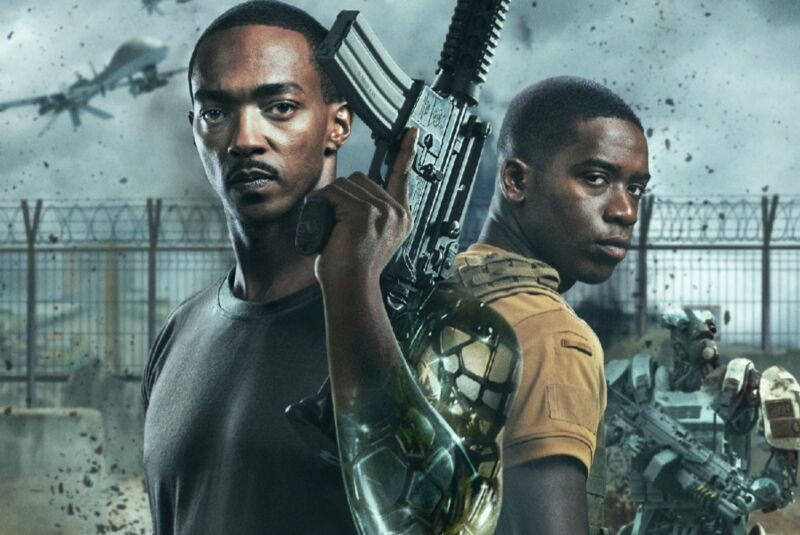 Anthony Mackie and Damson Idris must foil a a warlord's plan to launch a network of dormant nuclear weapons in <em>Outside the Wire.</em>
