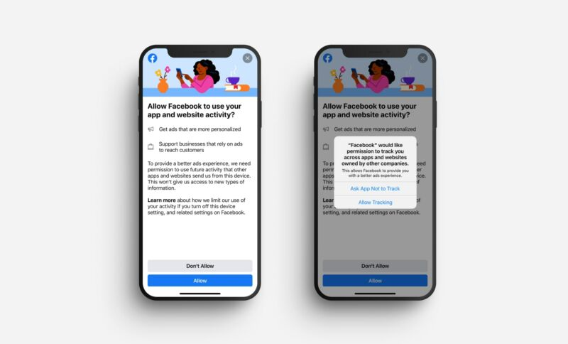 The two messages Facebook users will see in this test. On the left, Facebook's prompt, and on the right, the one required by Apple.
