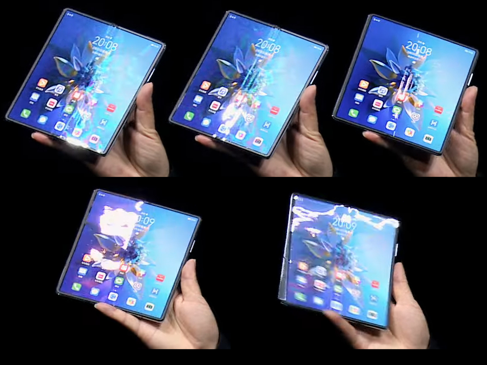 Real images of the display show off how uneven it is. The top row highlights the trench running down the middle of the phone. The bottom row shows off uneven reflections from the ripples in the rest of the display.