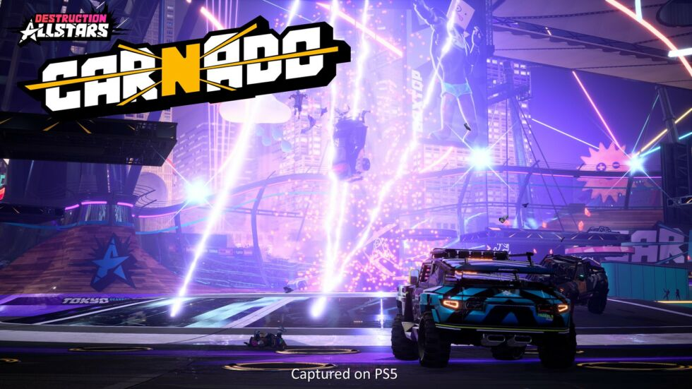 Driving your car into an explosive tornado, then having your driver launch harmlessly out of the explosion so that you can find and drive another car, is one of the giddiest PS5-exclusive gaming moments you can find right now.