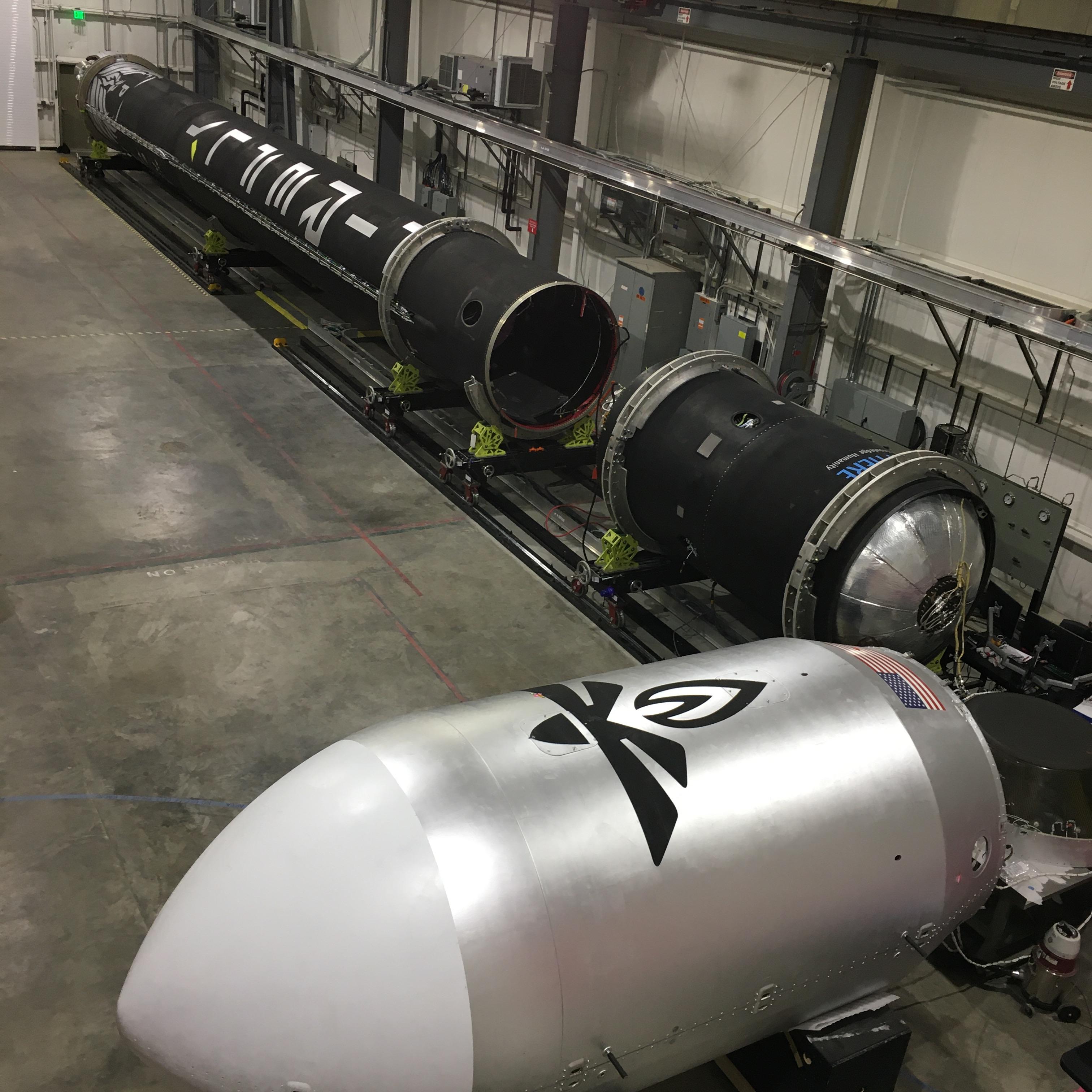 The Alpha rocket is shown before integration at Vandenberg Air Force Base.