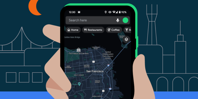 Google Maps for Android officially gets dark mode support - Ars Technica