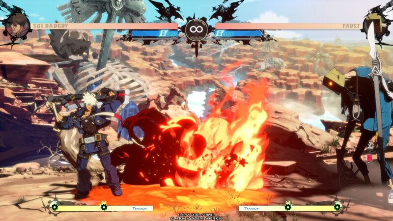Sol Badguy faces off against Faust in <em>Guilty Gear Strive</em>, the latest entry in the long running fighting game series coming in April