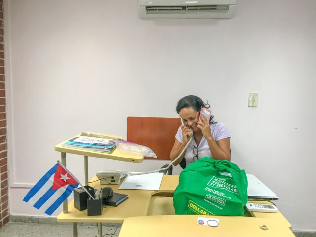 """<a href=""""https://veloencuba.com/"""">Velo Cuba's</a> Nayvis Diaz attributes increased success for her Havana-based bike shop and tour company to increased Internet access. Two phones really <em>are </em>better than one."""