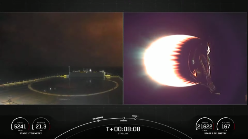 At left, a glow can be seen on the horizon just as a Falcon 9 rocket was due to land.