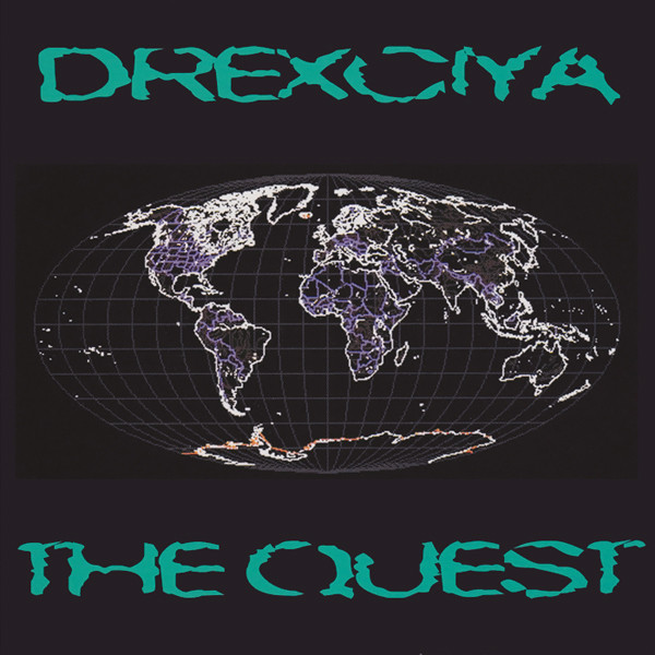 The album cover of<em>The Quest</em>, whose purple tracing appears to spell out the Black Diaspora.